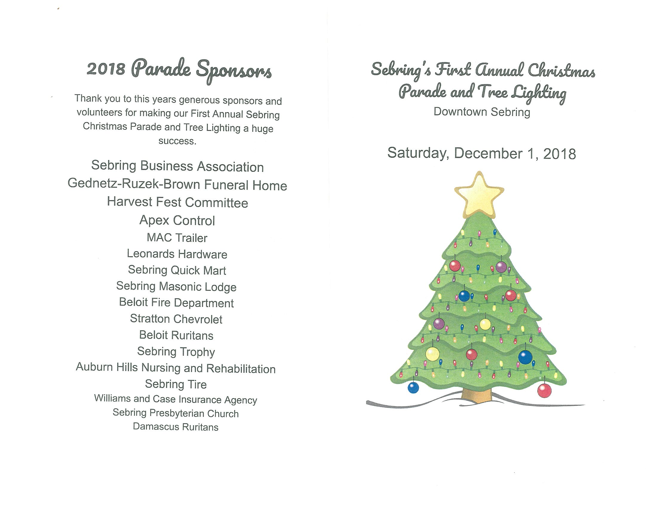 First Annual Sebring Christmas Parade – Village of Sebring, Mahoning ...